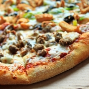 pizza with hot italian sausage